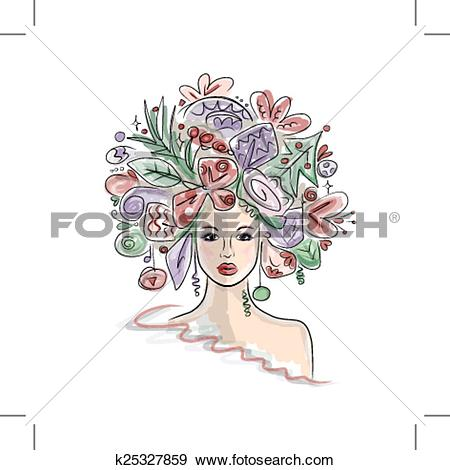 Clip Art of Woman portrait with hairstyle for christmas carnival.