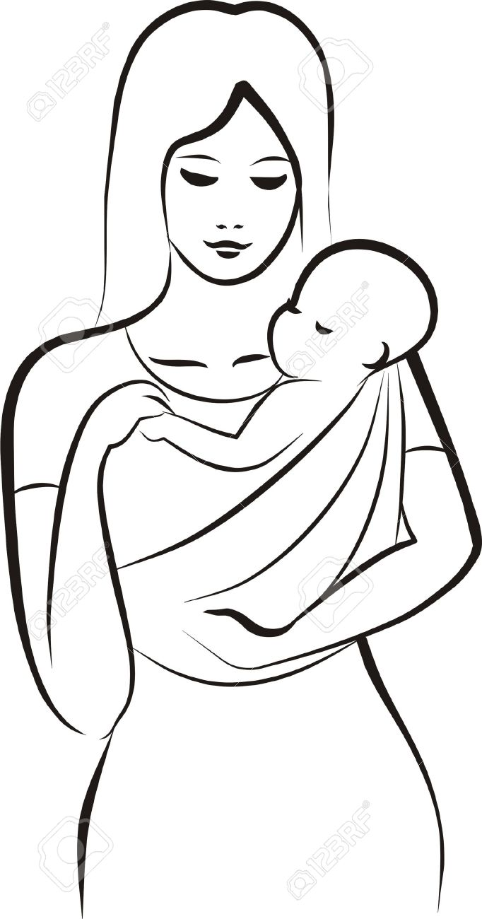 Woman Carrying Baby Silhouette.