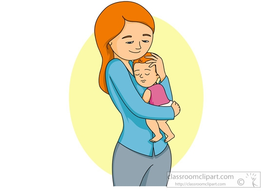 Mother Carrying A Baby Clipart.