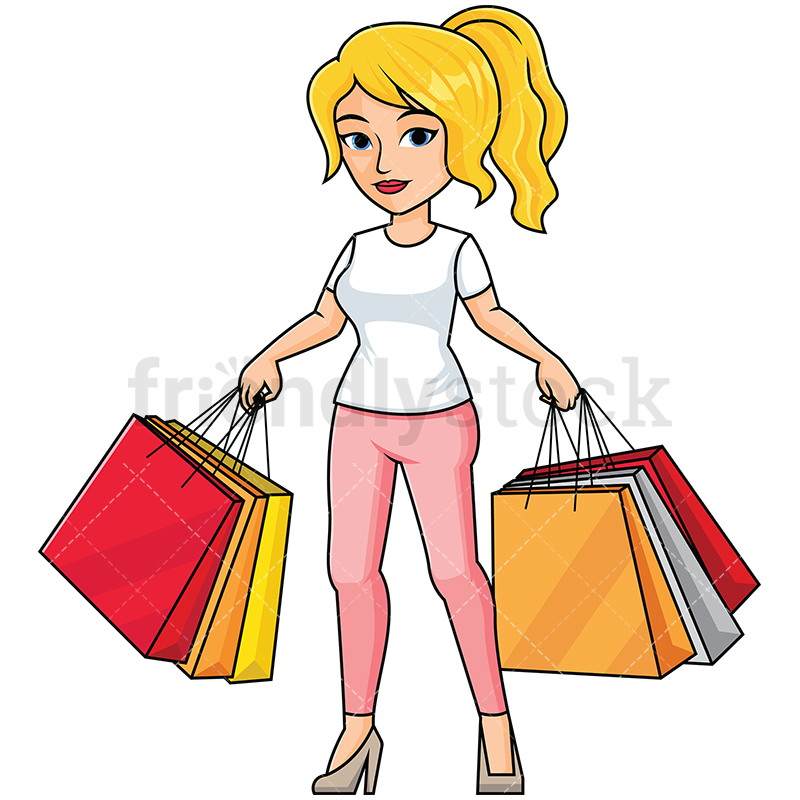 Girl Holding A Bag Clipart.