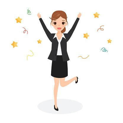 Happy Business Woman Jumping Celebrating Success Character premium.