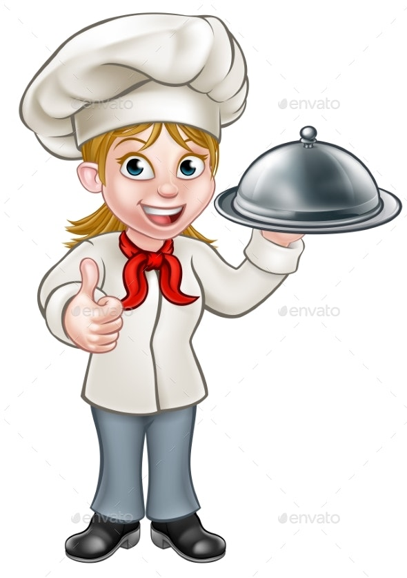 Female Woman Chef Cartoon Character.