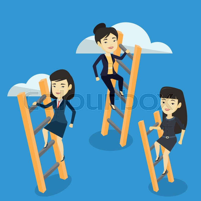 Business women climbing the ladders..