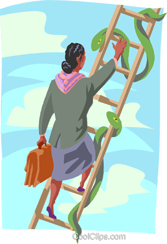 women climbing ladder with snakes Royalty Free Vector Clip.