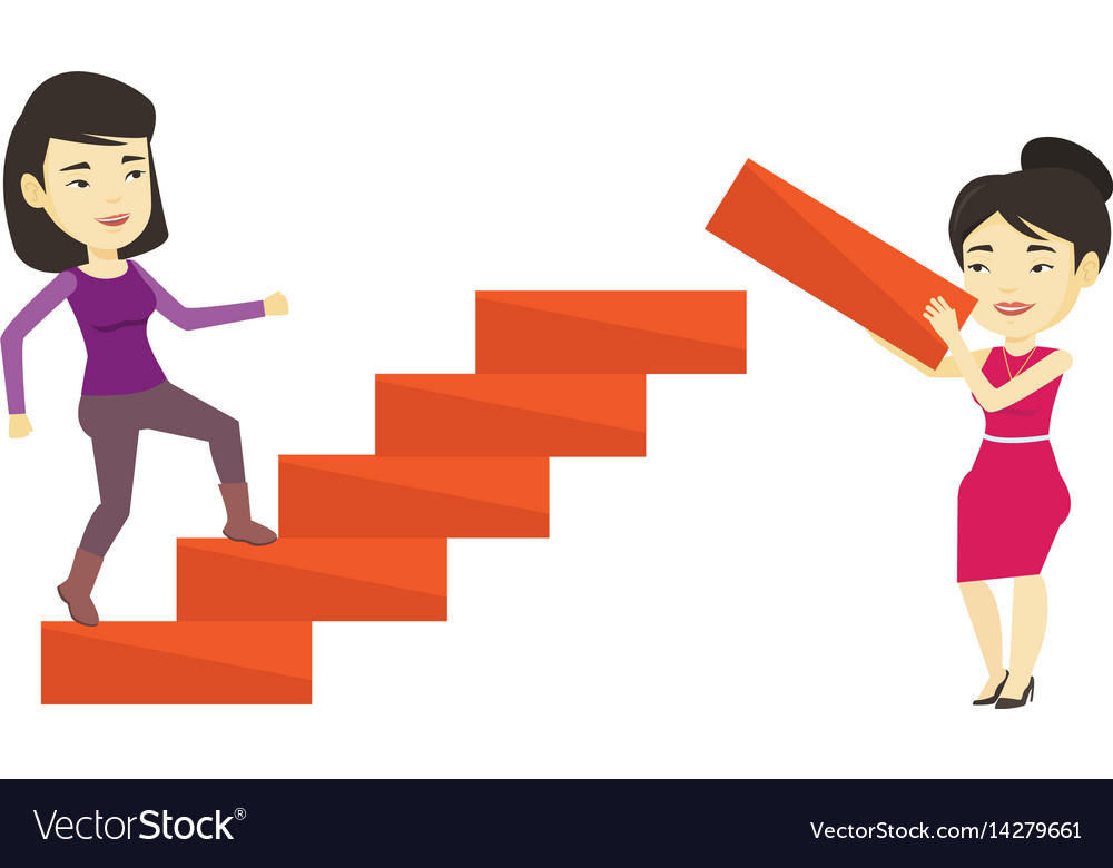 Business woman runs up the career ladder.