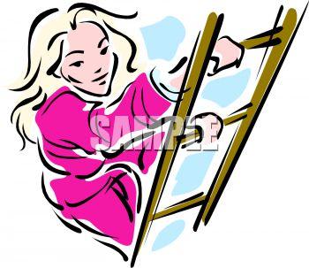 Girl Climbing Ladder Clipart.