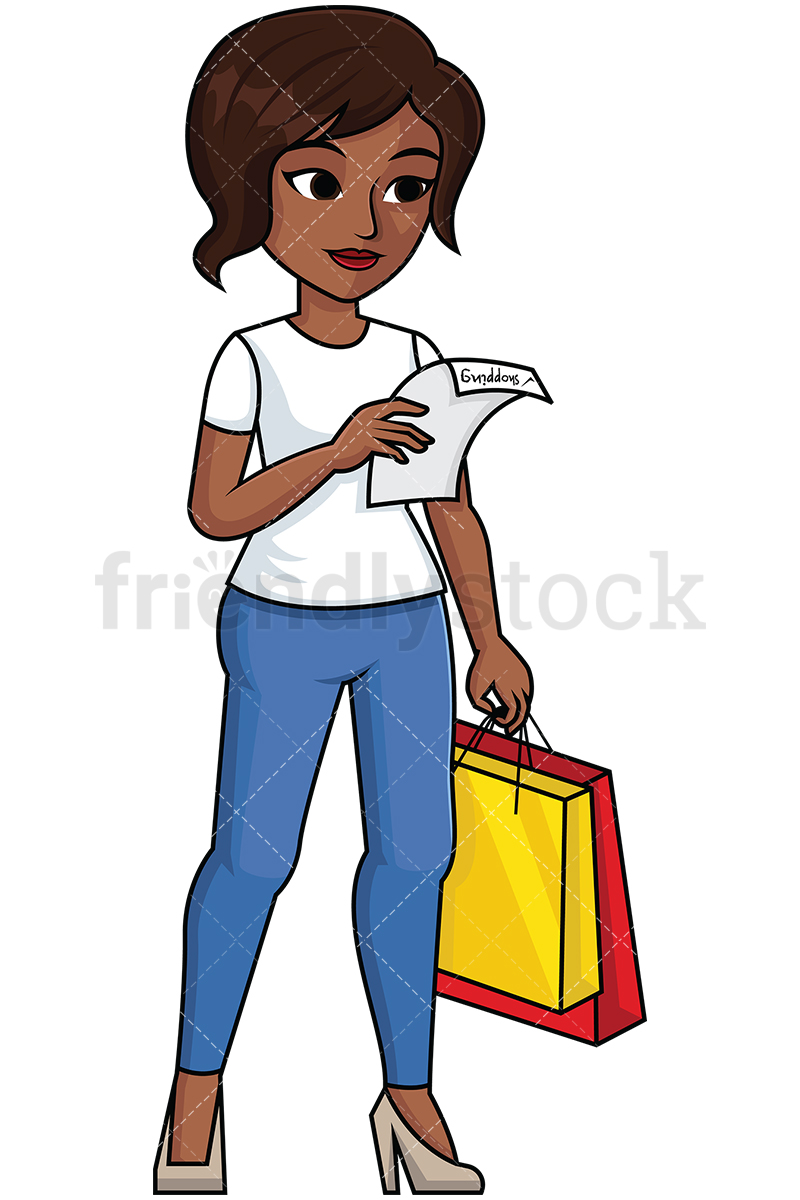 Black Woman Reading Shopping List.