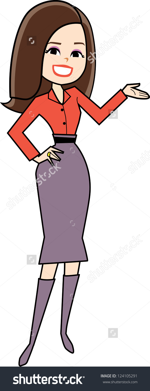 Cartoon Woman Clipart Retro Style Drawing Stock Vector 124105291.