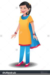 Cartoon Indian Women Clipart.