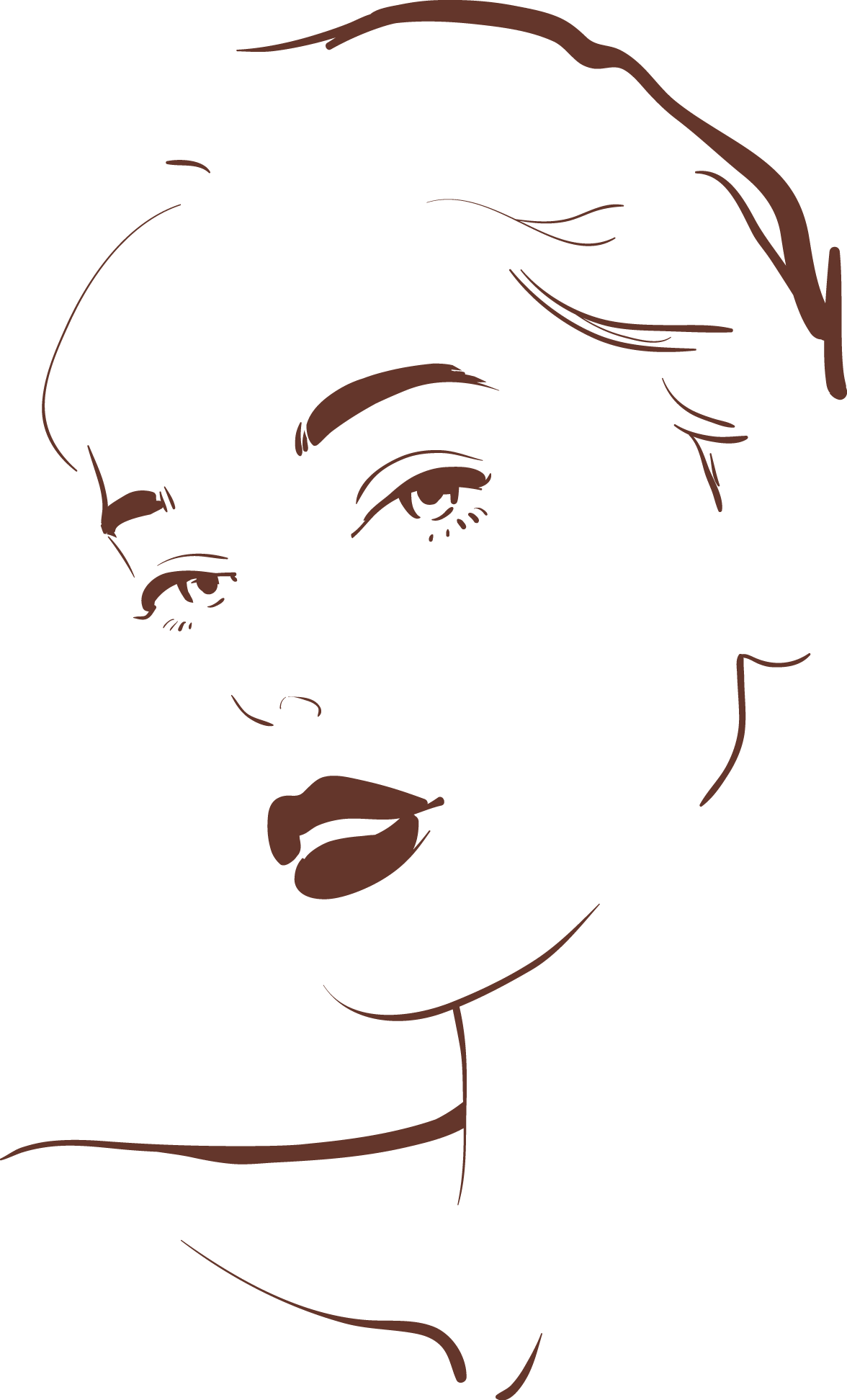 Drawing Woman Face Illustration.