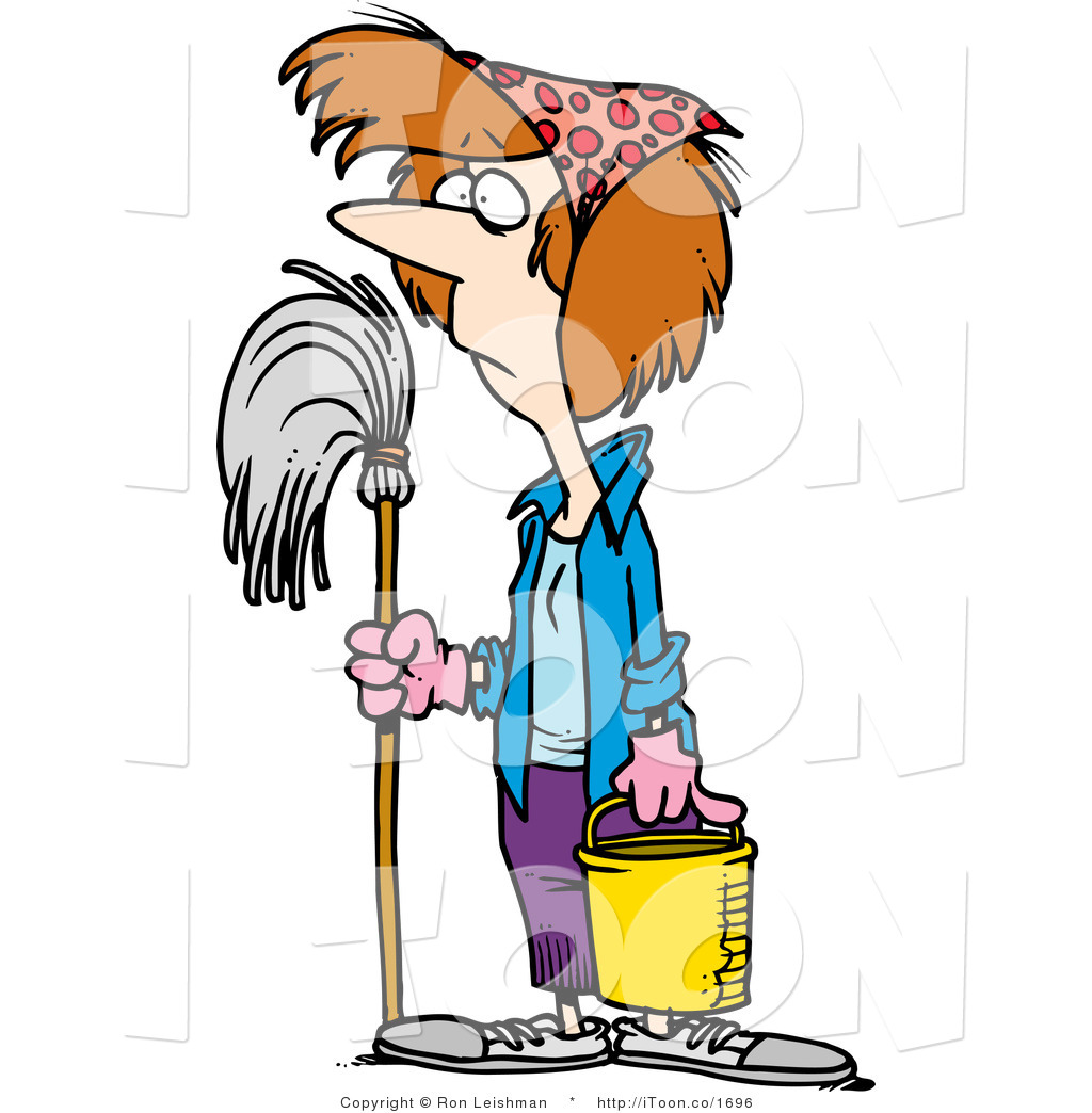 Funny Cleaning Lady Clipart.