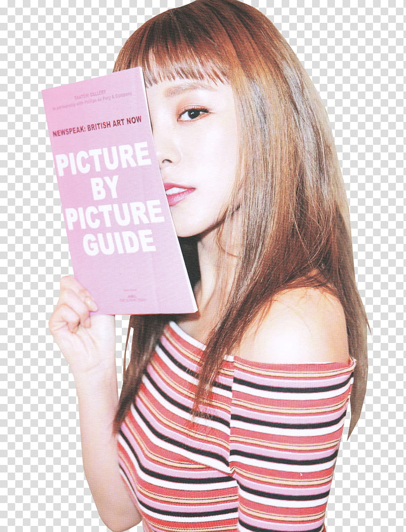 Woman holding paper with by guide text transparent.