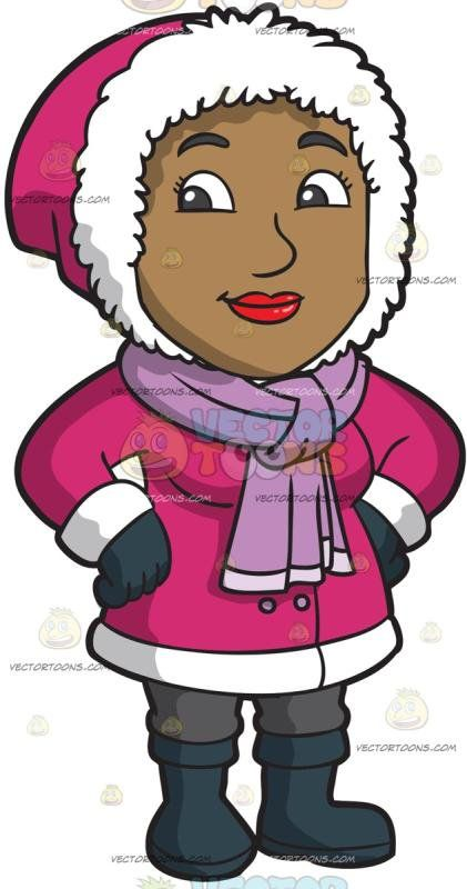 A Pretty Black Woman Wearing Winter Clothes: A black woman.