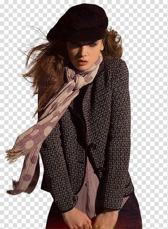 Model Woman, Winter Fashion Model transparent background PNG.