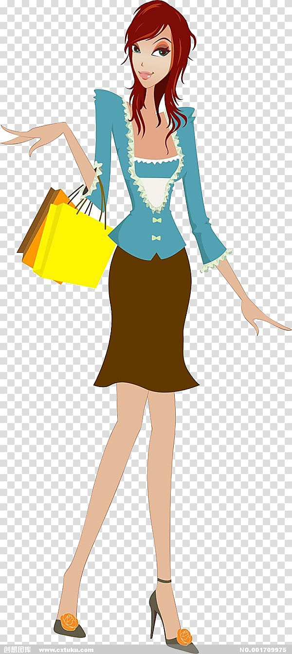 Woman Computer file, Shopping woman transparent background PNG.