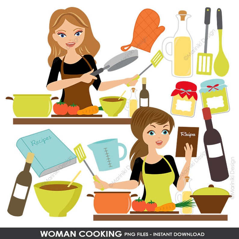 Cooking Kitchen Clipart Set, Baking Clipart, Woman Chef Graphics for  Scrapbook, Craft Invitations INSTANT DOWNLOAD CLIPARTS C45.