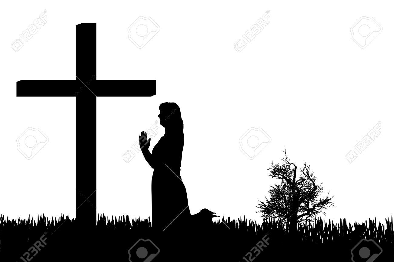 Woman Praying At Cross Clipart.