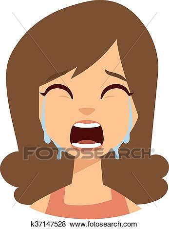 Woman crying vector illustration. Clip Art.