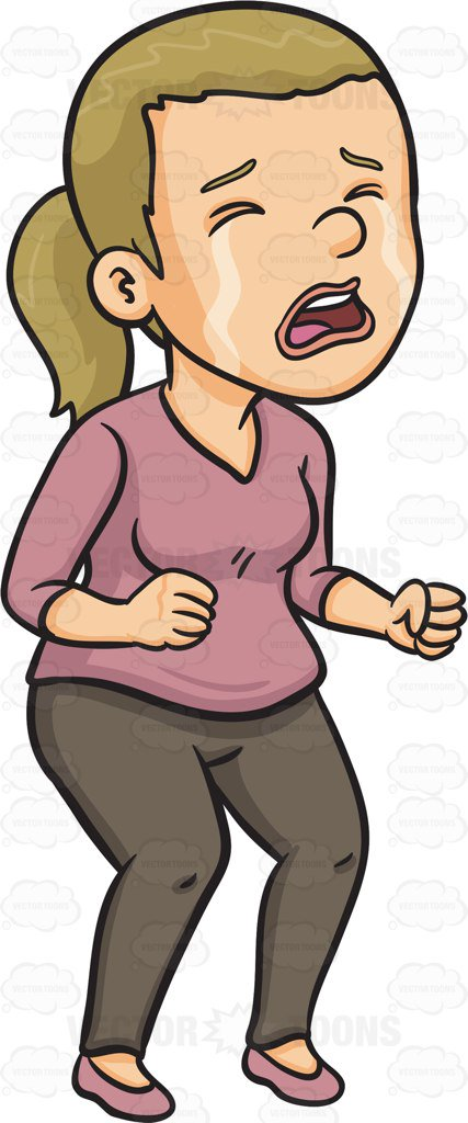 Cartoon Clipart: A Sad Woman Crying Out Loud.
