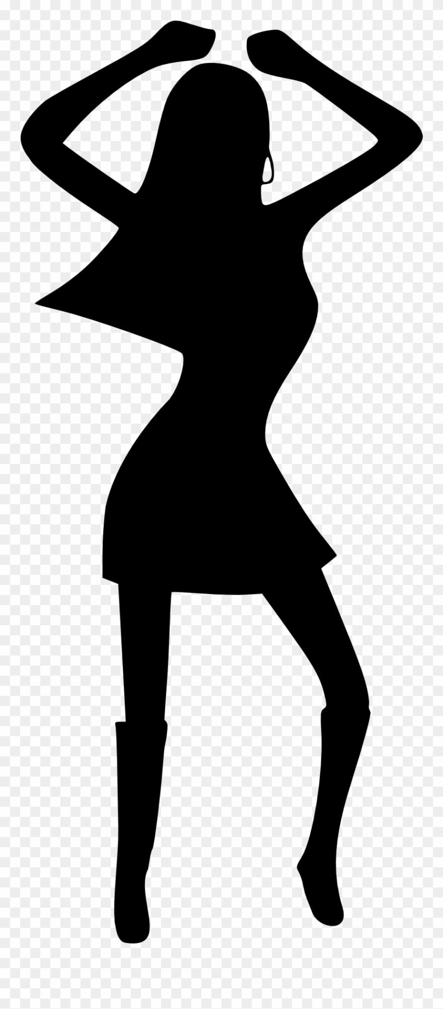 Girl Woman Dancing Disco Black White Drawing Silhouette.