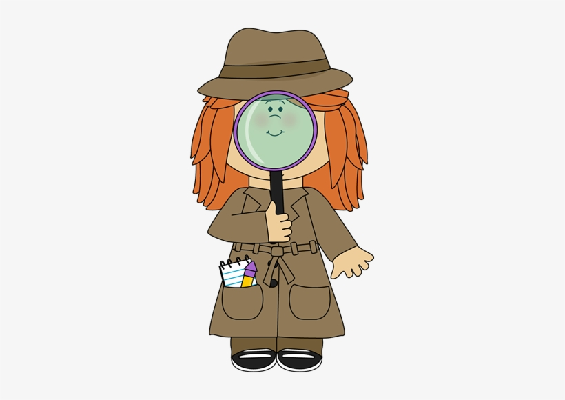 Clip Art Free Stock Girl Detective With Magnifying.