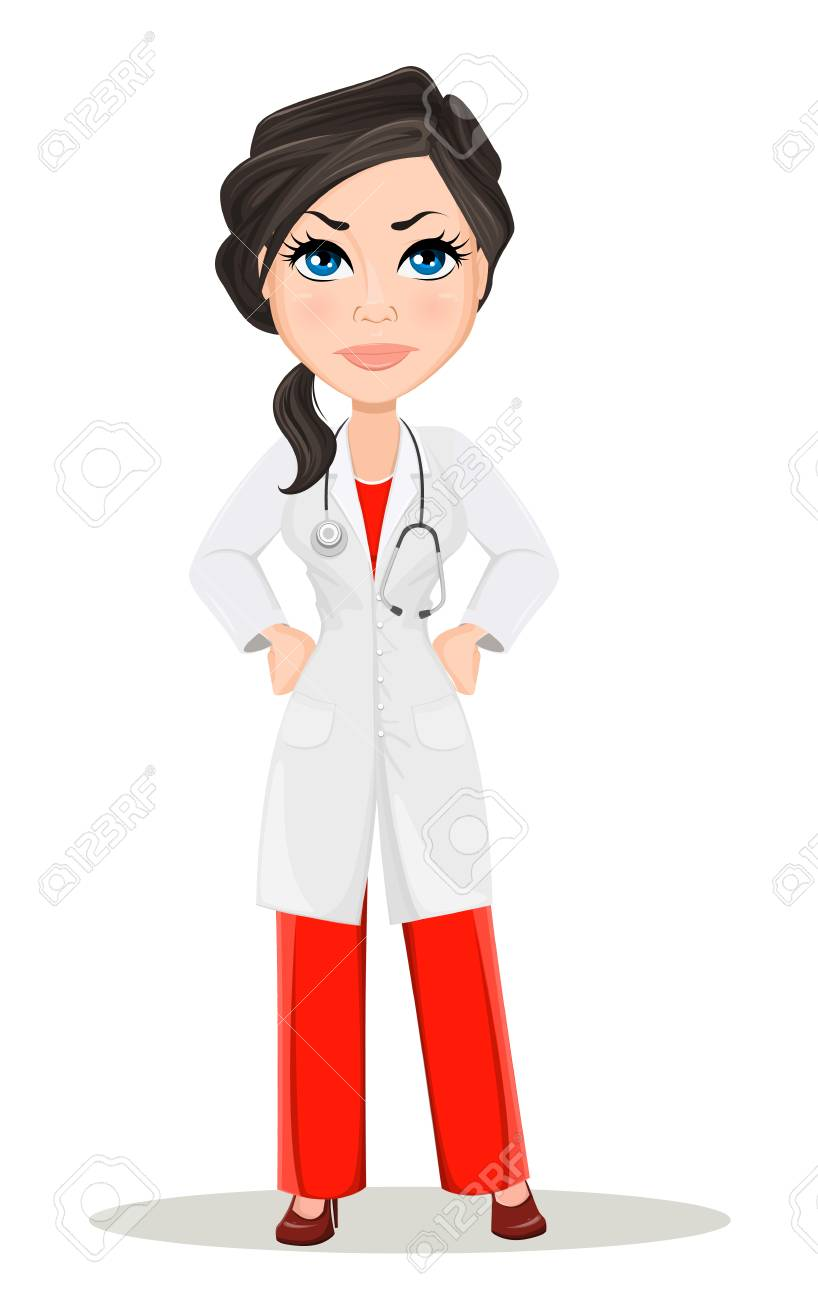 Doctor woman with stethoscope. Cute cartoon doctor character...