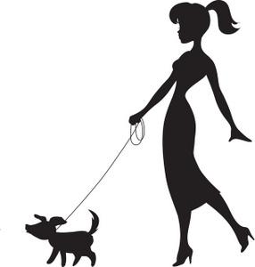Free clip art woman walking dog.