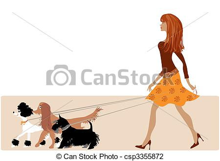 Vector Illustration of Walking with dogs.