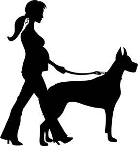 Lady Walking Dog Clipart.