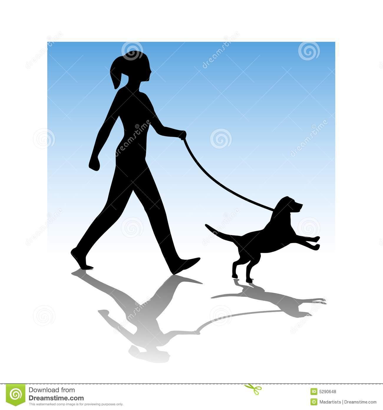 Woman walking dog clipart.
