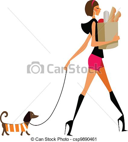 Woman walking a dog clipart.