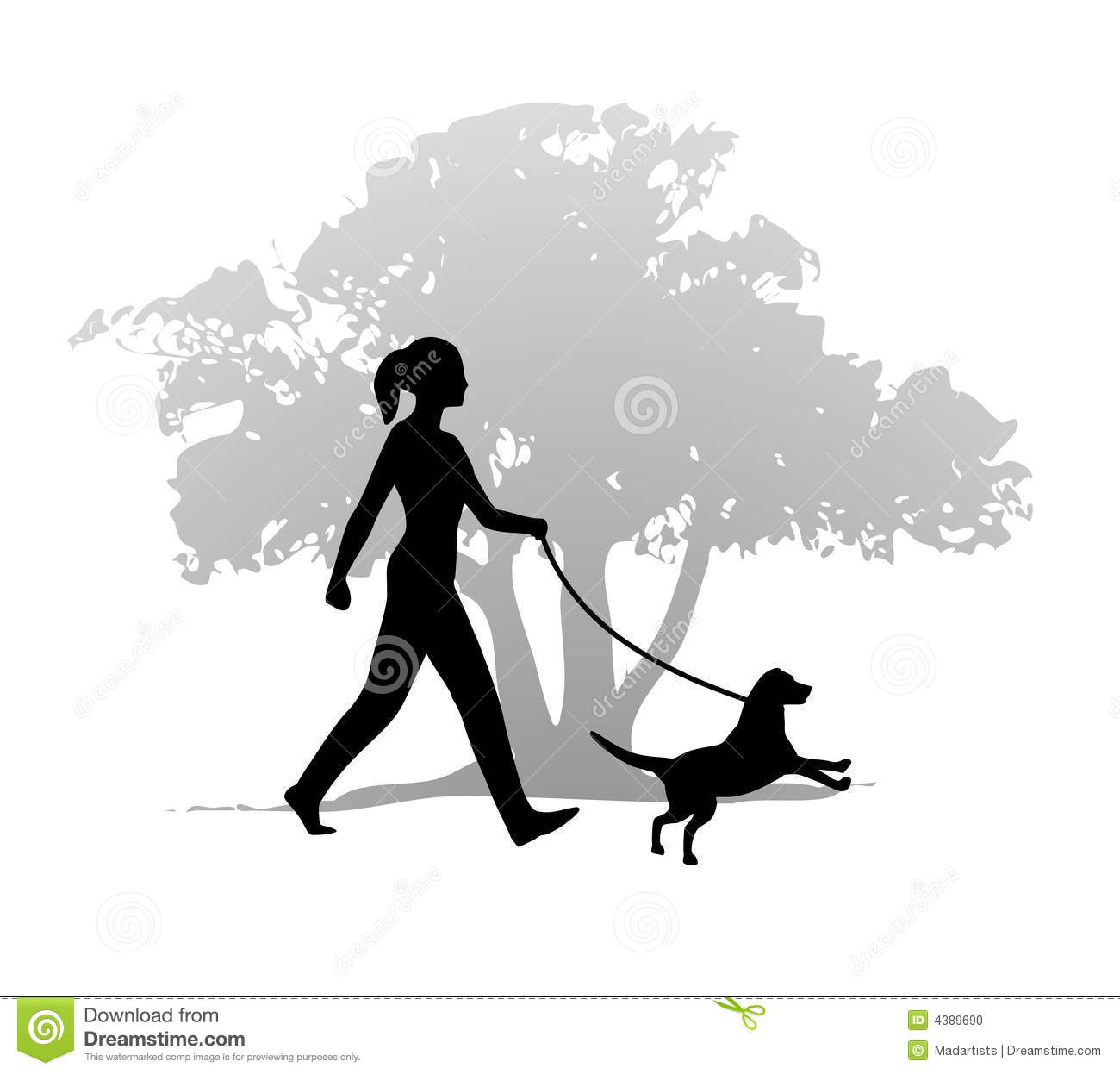 Lady walking dog silhouette clipart.