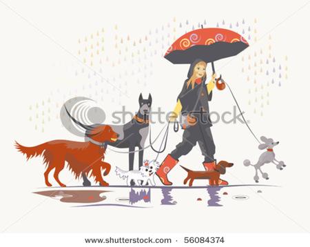 Girl Walking Dog Clipart.