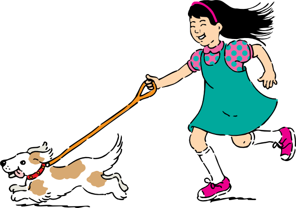Free clip art woman walking dog.