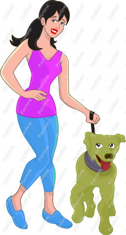 Clipart of woman walking dog.