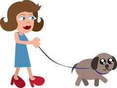 Lady walking dog clipart.