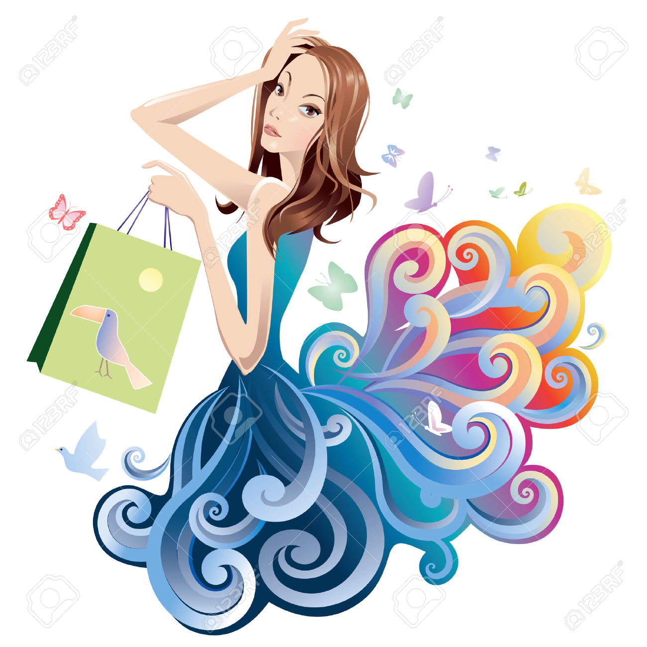 Girl With Shopping Bags Clipart.