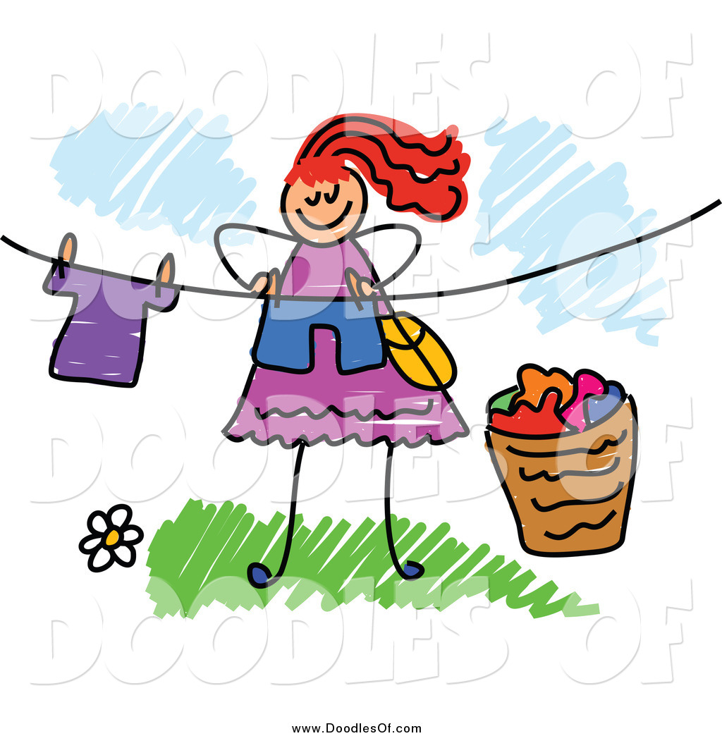 Vector Clipart of a Red Haired Doodled Woman Hanging Laundry.