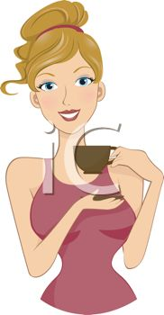 Pretty Blond Woman Drinking a Cup of Coffee.
