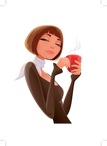Best Woman Drinking Coffee Illustrations, Royalty.