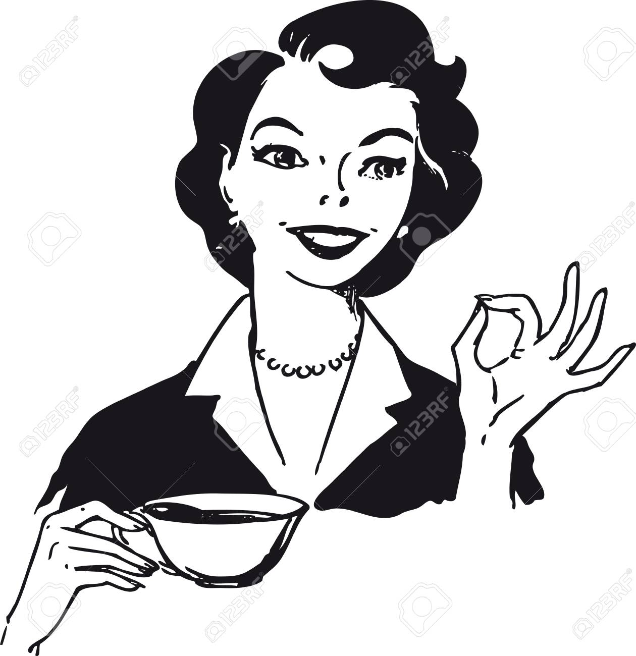 Woman drinking coffee, Retro Vector Illustration.