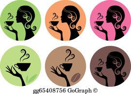 Woman Drinking Coffee Clip Art.