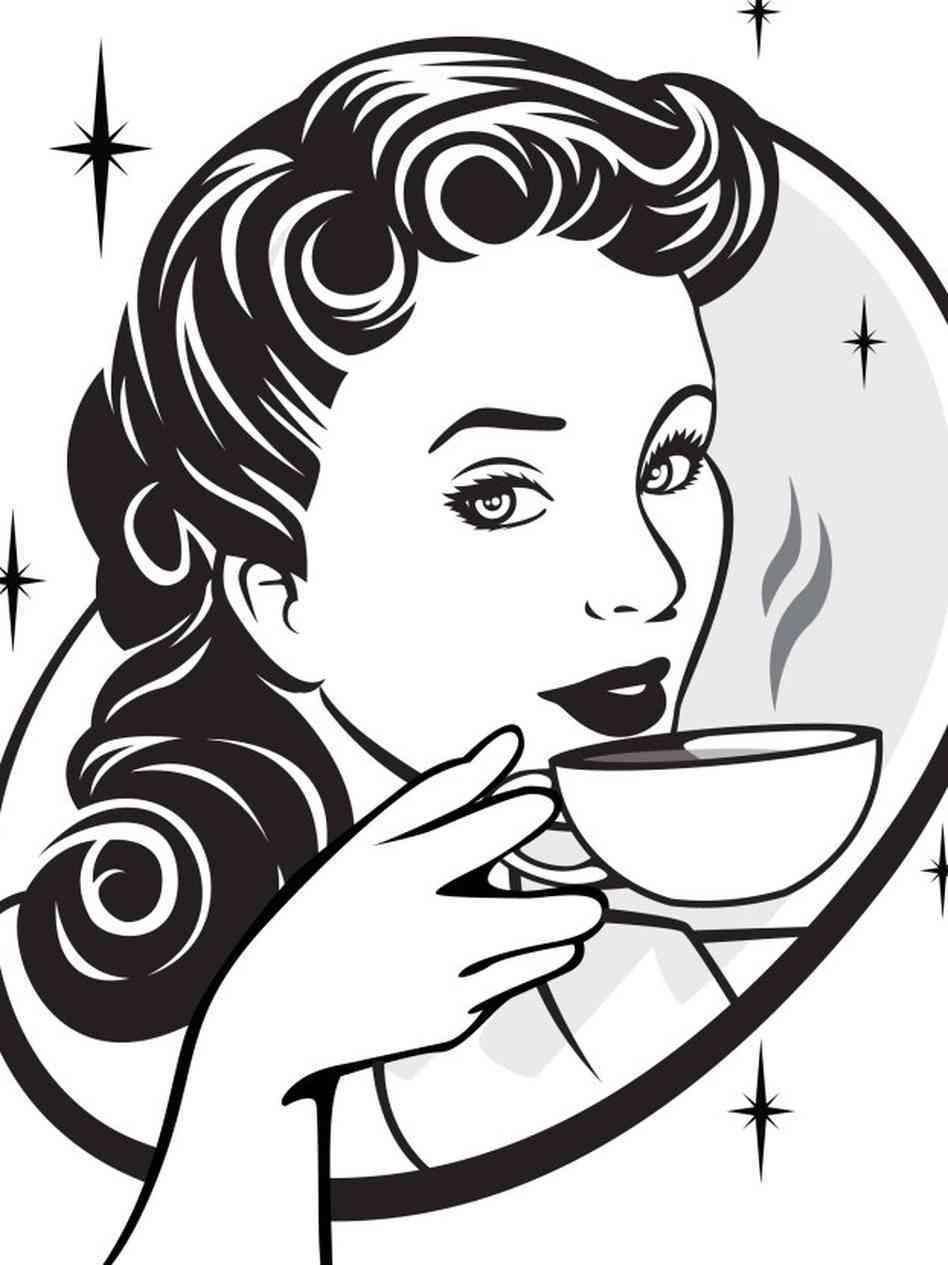 Women Drinking Coffee Clipart.