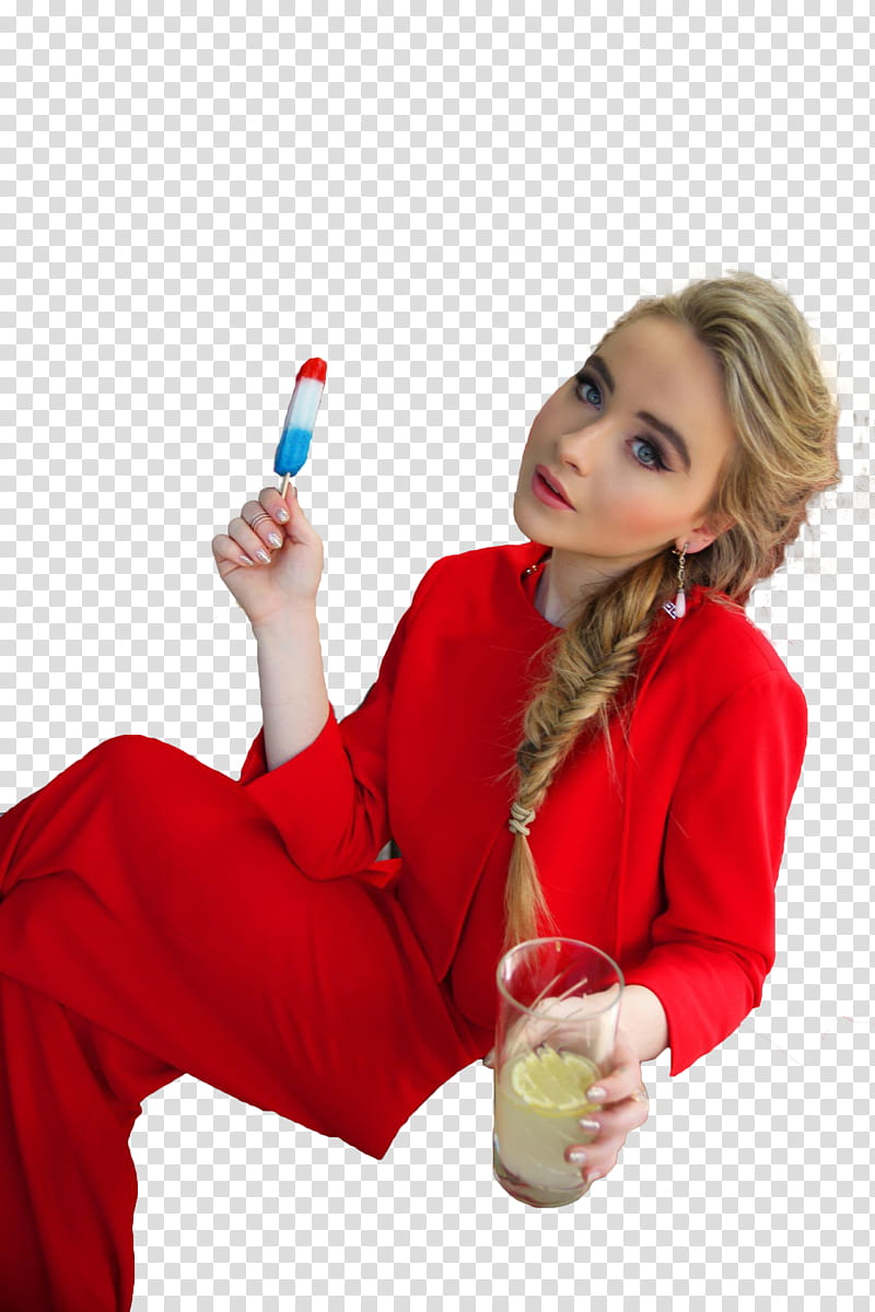 Sabrina Carpenter, woman holding popsicle and drinking glass.