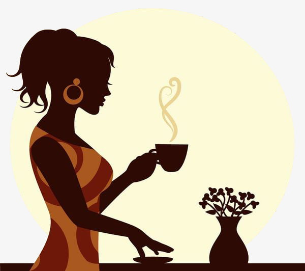 A lady with hot tea PNG clipart.