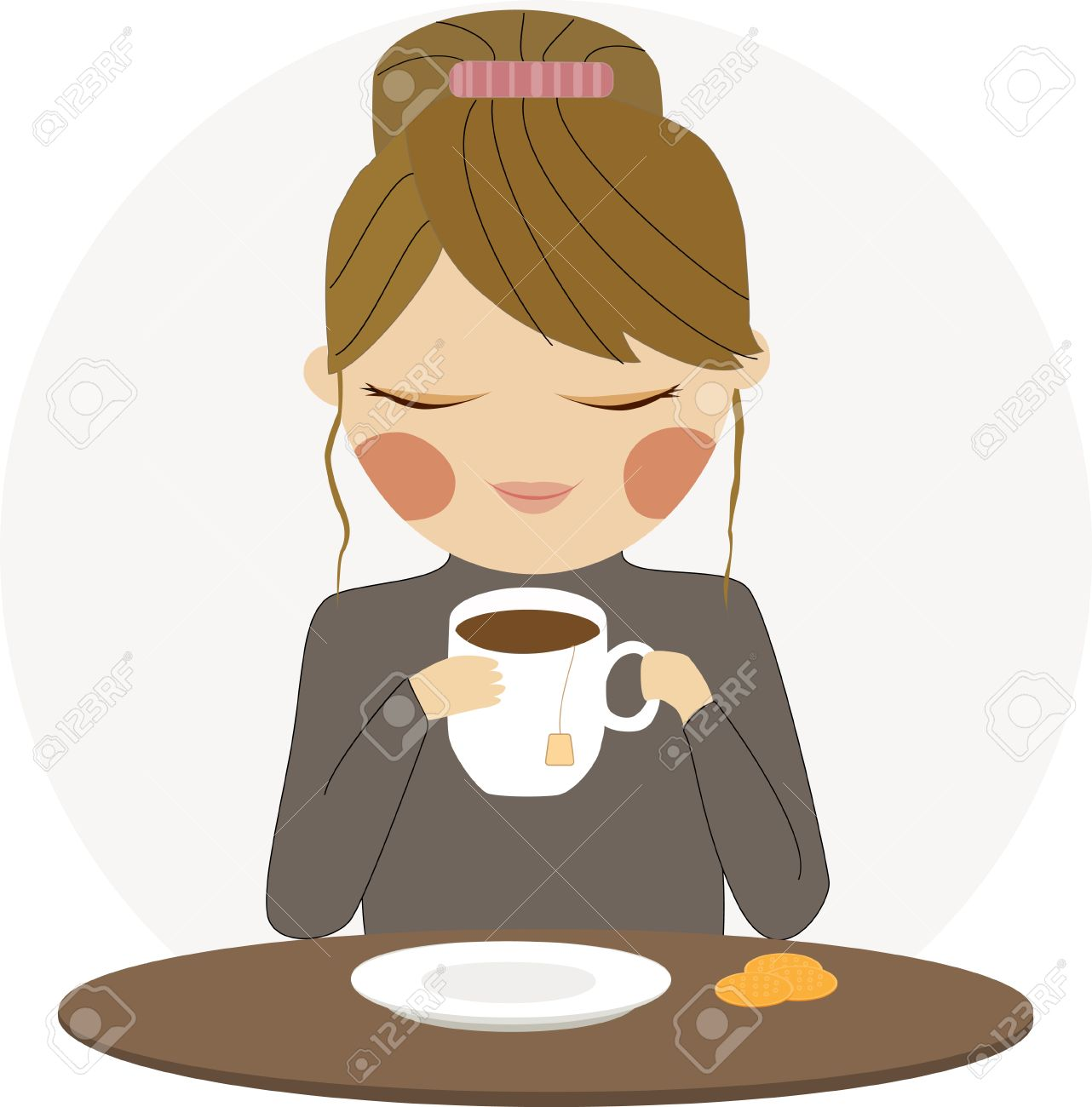 Lady Drinking Tea Clipart.