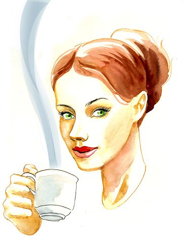 Woman drinking tea Clipart Image.