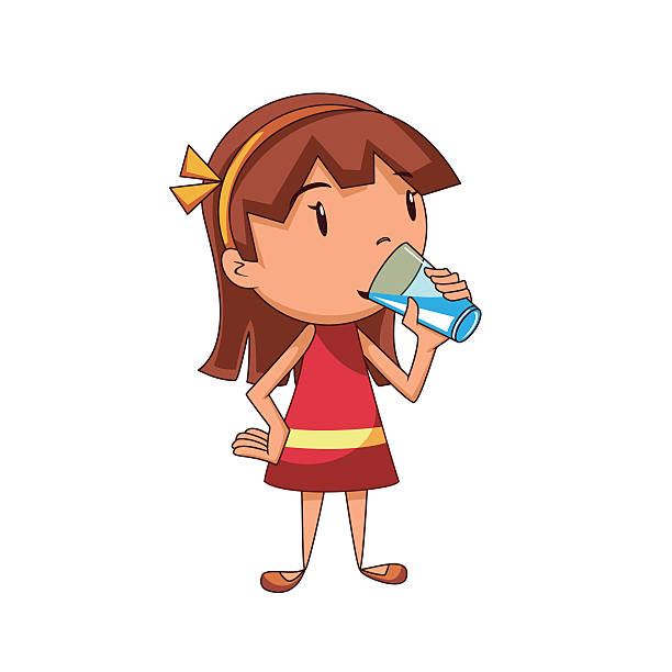 Best Girl Drinking Water Illustrations, Royalty.
