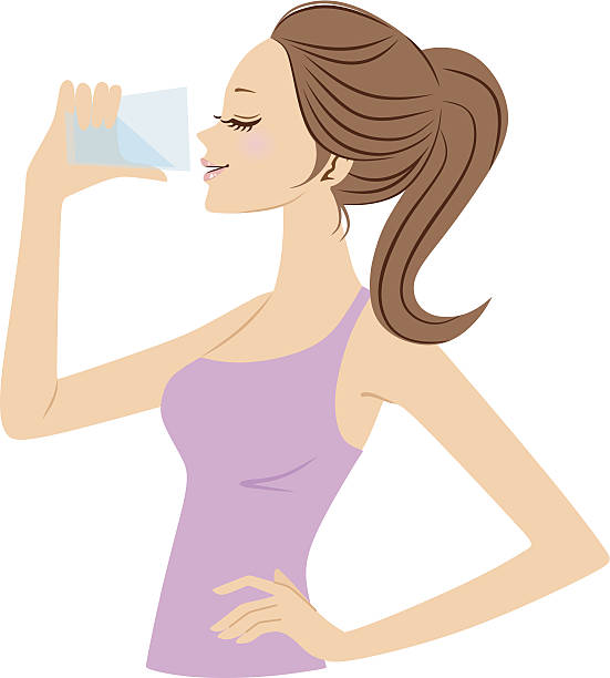 Best Woman Drinking Water Illustrations, Royalty.