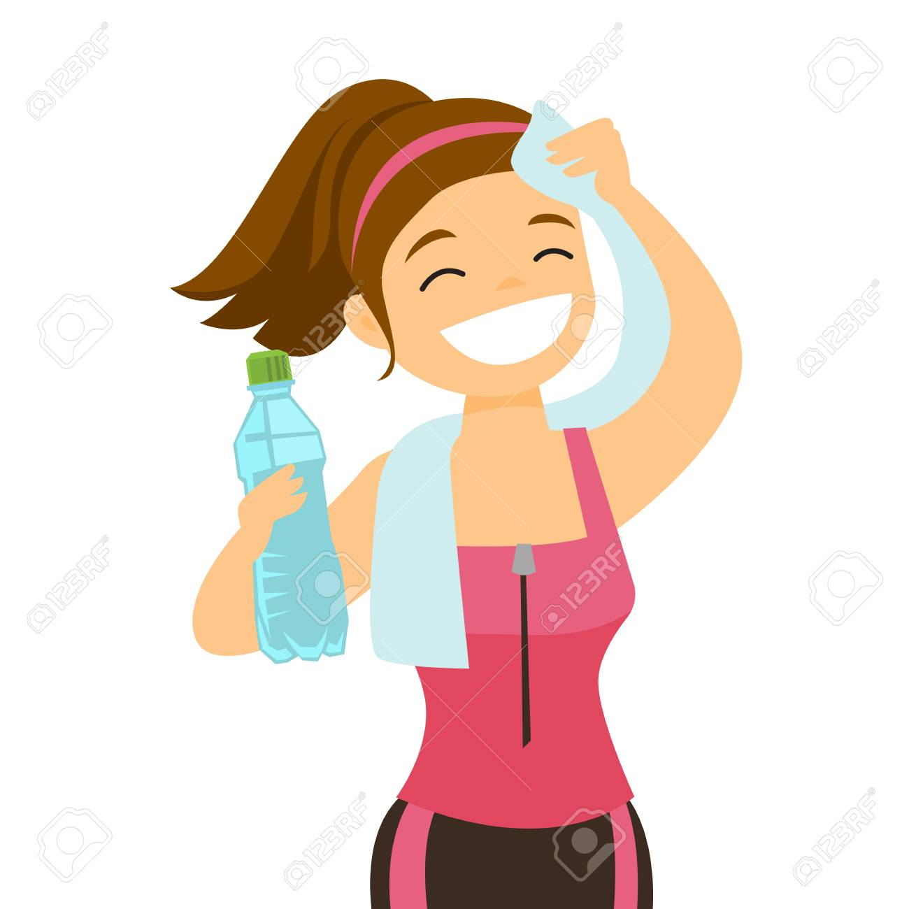 Young Caucasian white sporty woman drinking water and wiping...